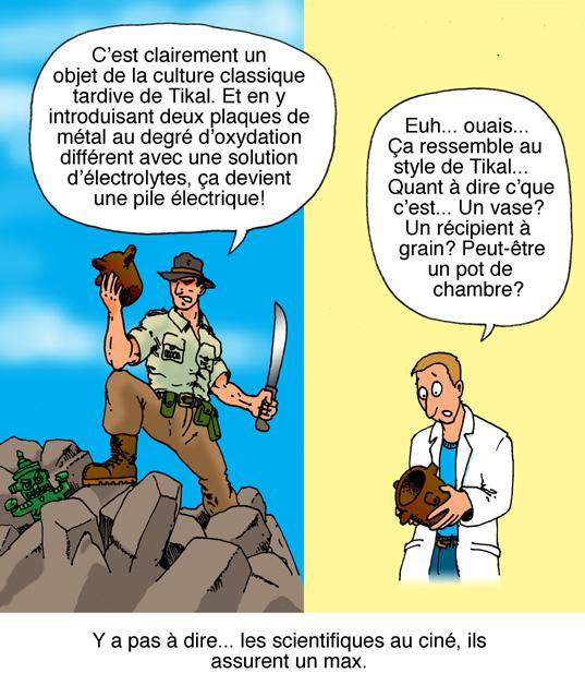 La différence entre l'archéologue au cinéma et dans la réalité (dessin par Benoît Leblanc)