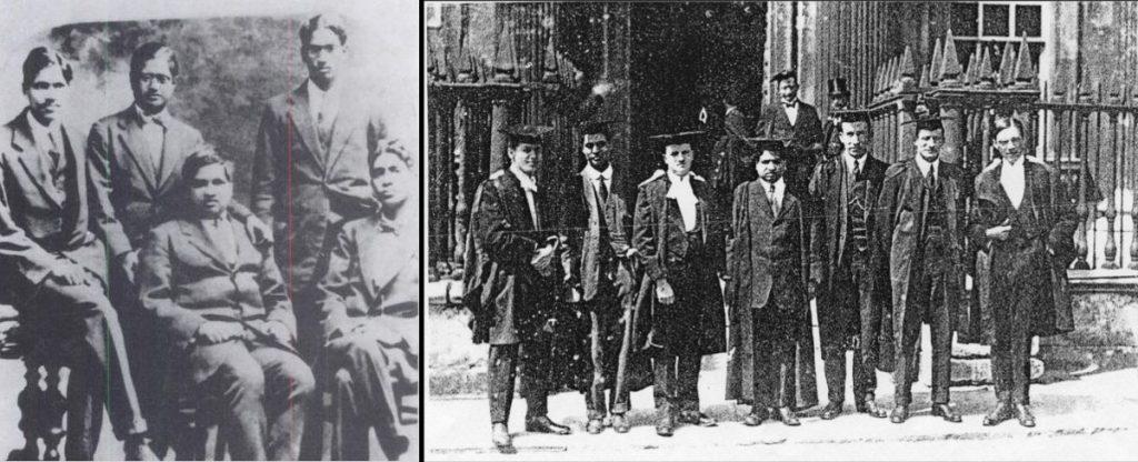 Ramanujan au milieu de mathématiciens indiens (à gauche) et au milieu de mathématiciens à Cambridge (à droite) (photos dans le domaine public)