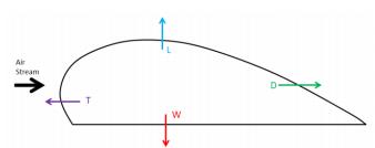 Total des forces s'exerçant sur l'aile du hiboux lorsqu'il vole à l'horizontal. Avec W le poids, L la portance, D la traînée et T la poussée (Fogg et al. 2015)